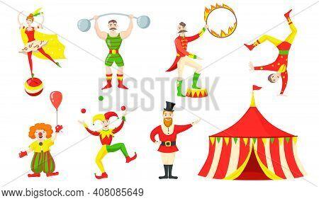 Cheerful Circus Character And Performers Flat Set For Web Design. Cartoon Acrobat, Clown, Juggler St