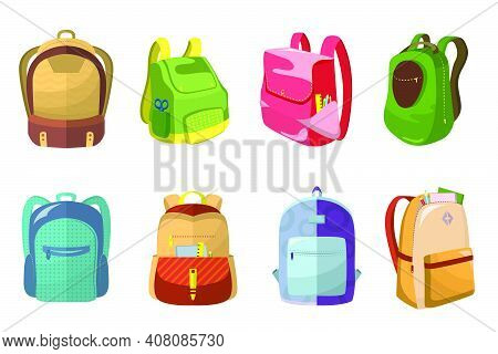 Colorful School Bags Set. Kids Backpacks With School Supplies In Open Pockets, Schoolbags Children.