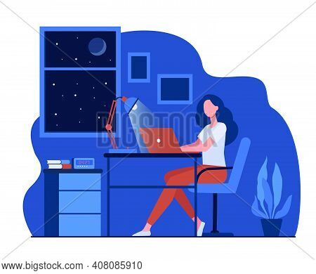 Female Designer Working Late In Room Flat Vector Illustration. Cartoon Student Using Laptop Computer