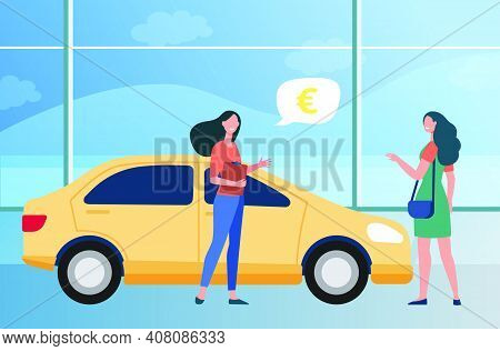 Happy Woman Buying New Car In Automobile Store. Retail, Vehicle, Sale Flat Vector Illustration. Tran