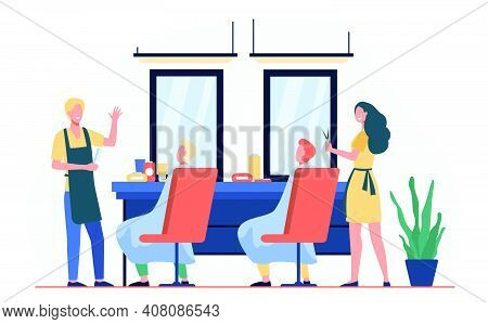 Man Sitting In Chair In Barbershop Isolated Flat Vector Illustration. Cartoon Hairdressers Making Ha