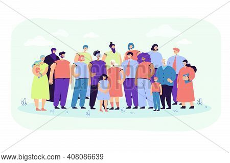Multinational Crowd Of People Standing Together Flat Vector Illustration. Portrait Of Cartoon Divers
