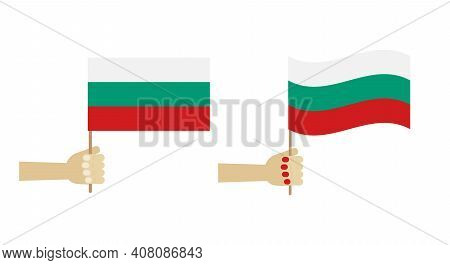 People Holding Bulgarian Flags In Hands. Icons, Design Elements For Independence Day And Other Natio