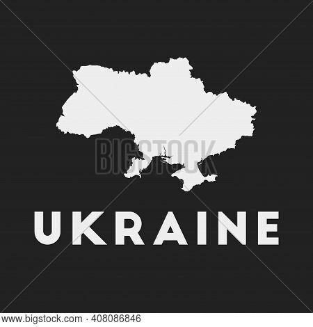 Ukraine Icon. Country Map On Dark Background. Stylish Ukraine Map With Country Name. Vector Illustra
