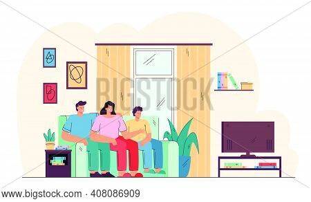 Smiling Family Sitting On Couch And Watching Tv Isolated Flat Vector Illustration. Cartoon Father, M