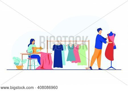 Tailors Sewing Clothes In Studio. Sewing Machine, Mannequin, Fabric, Hanging Dresses Flat Vector Ill