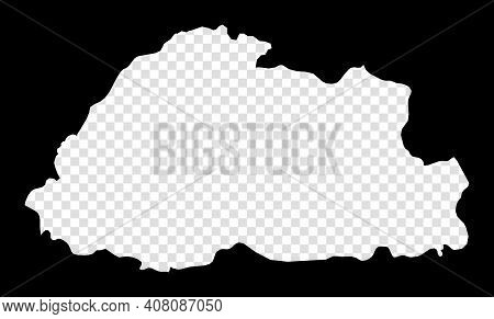 Stencil Map Of Bhutan. Simple And Minimal Transparent Map Of Bhutan. Black Rectangle With Cut Shape