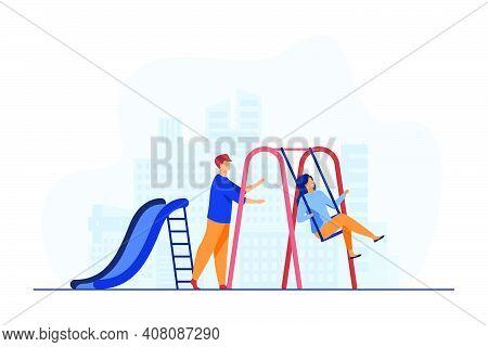 Young Couple Having Fun On Playground. Guy Swinging Girlfriend On Swing Flat Vector Illustration. Ro