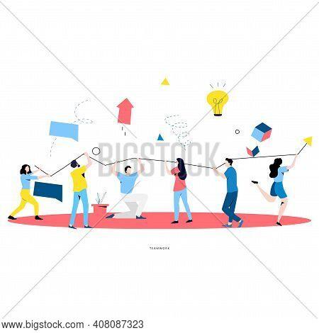 Team Work, Cooperation, Corporate Organization, Partnership, Business Graph Growth, Leadership, Inno