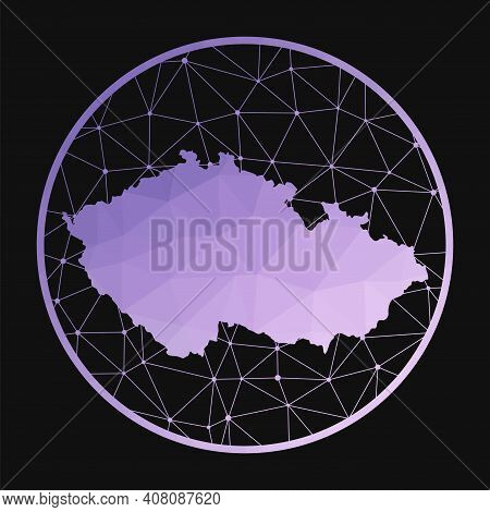 Czech Republic Icon. Vector Polygonal Map Of The Country. Czech Republic Icon In Geometric Style. Th