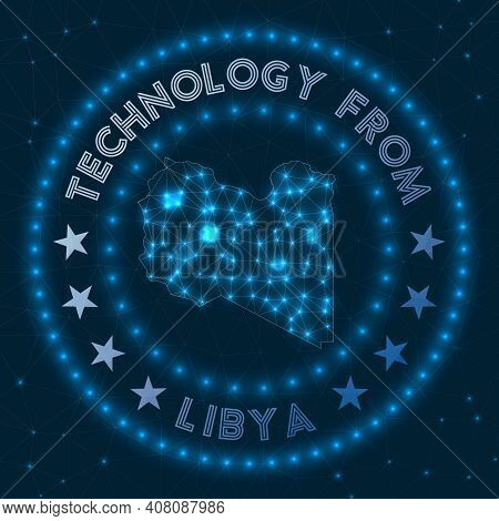 Technology From Libya. Futuristic Geometric Badge Of The Country. Technological Concept. Round Libya