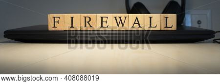 Firewall Text On Wooden Cubes On White Background - Image. Close Up
