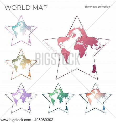 Low Poly World Map Set. Berghaus Star Projection. Collection Of The World Maps In Geometric Style. V