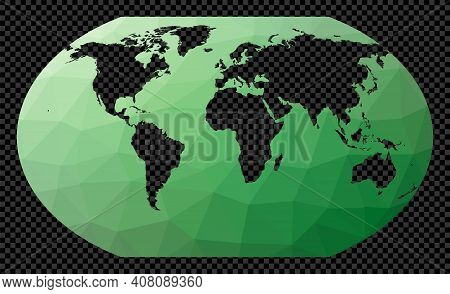 Low Poly Map Of The World. Kavrayskiy 7 Projection. Polygonal Map Of The World On Transparent Backgr
