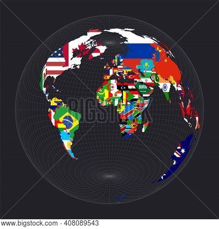 World Map With Flags. Lambert Azimuthal Equal-area Projection. Map Of The World With Meridians On Da
