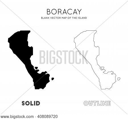 Boracay Map. Blank Vector Map Of The Island. Borders Of Boracay For Your Infographic. Vector Illustr