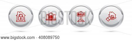 Set Line House Under Protection, Online Real Estate House, Hanging Sign With Sale And Realtor. Silve