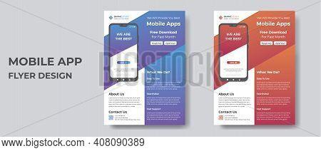 Mobile App Flyer Design Template Vector File