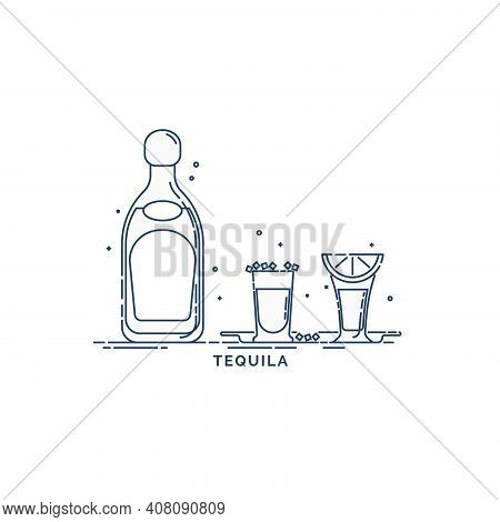 Tequila Bottle With A Glasses And Traditional Snack Salt And Lime. Citrus Slice Appetizer And Mexica