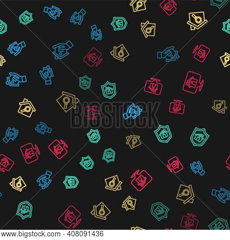 Set Line Realtor, House With Shield, Search House And Location On Seamless Pattern. Vector