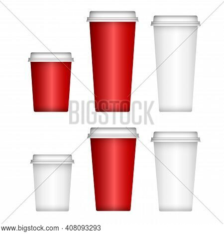 Paper Coffee Cup, White Plastic Lid. Isolated Disposable Cup Mockup Blank. Takeway Cardboard Mug 3d