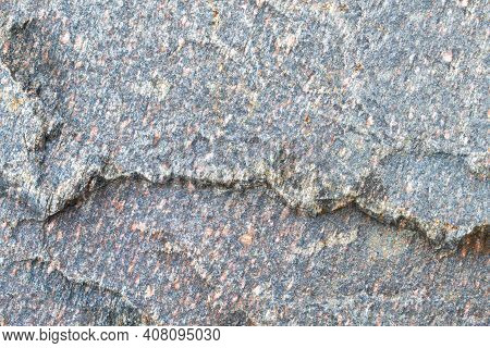 Dark Grey Granite Untreated Surface. Natural Background. Stone Texture. Copy Space, Place Fot Text.