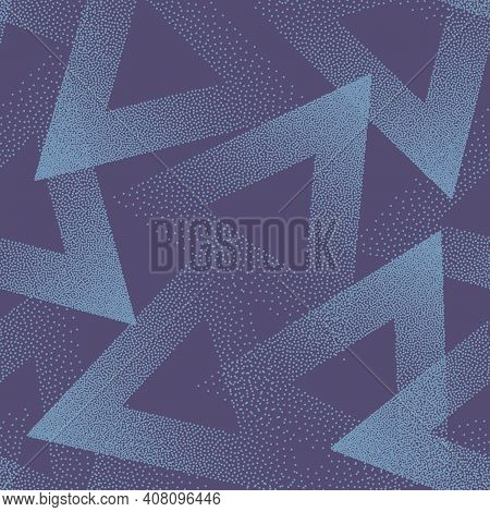 Stippled Triangles Texture Trendy Seamless Pattern Vector Blue Abstract Background. Handmade Tileabl