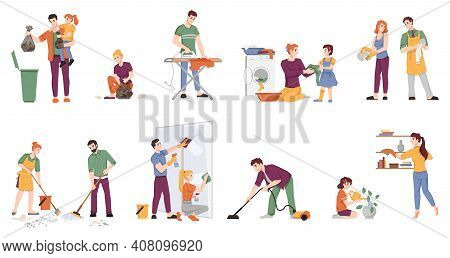 Cleaning People Set Isolated Man And Woman With Children Doing Housework Chores. Vector Couple Washi