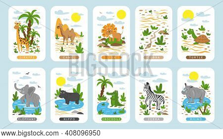 Childrens Educational Game. Cards With Illustrations Of Wild Animals. Wild Animals Of Africa