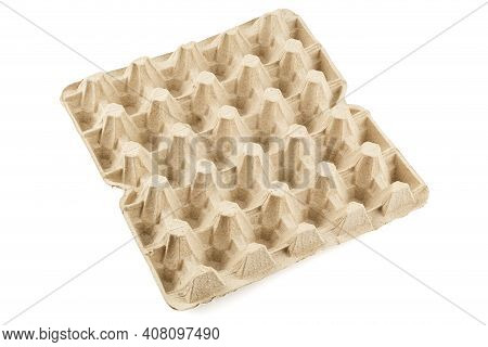 Empty Formed Cardboard Egg Tray - Closeup With Edge-to-edge Sharpness, Isolated On White Background