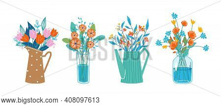 Floral Composition In Bouquets, Flowers In Blossoms In Decorative Vases And Water Cans, Glasses. Vec