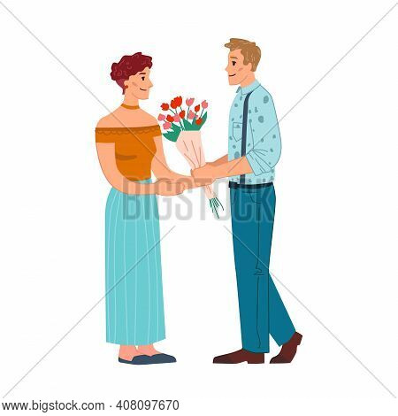 Man Give Flowers To Woman Isolated Flat Cartoon Characters. Vector Dating Caucasian Couple, Husband