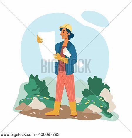 Gardening Landscape Designer Woman In Helmet, Plan In Hands Isolated Flat Cartoon Character. Vector