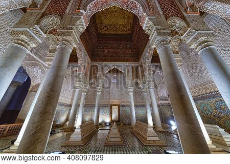 Marrakech, Morocco - December 30, 2017: The Room With The Twelve Columns In Saadian Tombs. These Tom