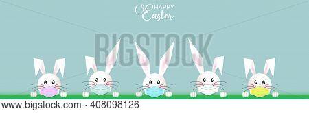 Bunny Easter Set, White Rabbit Wear A Protective Colorful Face Mask Against Covid-19. Coronavirus Al