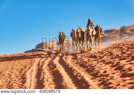 Wadi Rum, Jordan - April 05, 2015: A Bedouin Leads A Group Of Camel And Riding One Of Them In The Wa