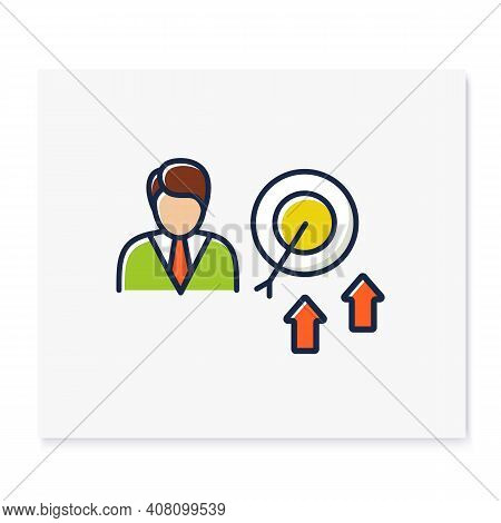 Achieving Growth Color Icon. Personal Growth Concept. Achieving Goals. Certification Training. Growt