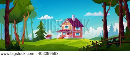 Rural House Landscape Forest Scenery View On Country Home With Chimney, Stairs And Porch. Vector Bui