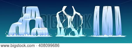 Set Of Waterfalls Isolated On Blue Background. Vector Nature Fluid Splash And Drop. Falling River Wa