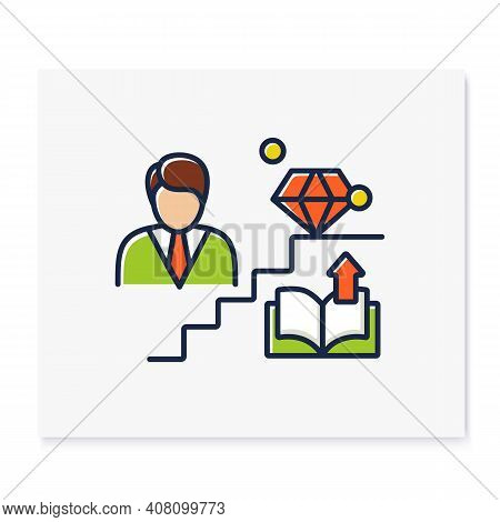 Personal Growth Color Icon. Route To Success. Self Improvement And Self Realization. Business And Ca