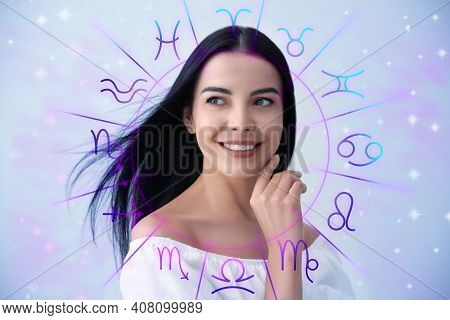 Beautiful Young Woman And Illustration Of Zodiac Wheel With Astrological Signs On Light Background