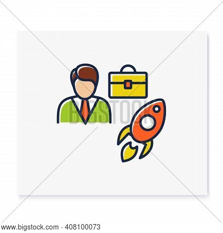 Career Improvement Color Icon. Personal Growth Concept. Self Improvement And Self Realization. Caree