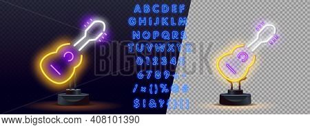 Vector Realistic Isolated Neon Retro Sign Of Guitar On The Transparent Background For Decoration And