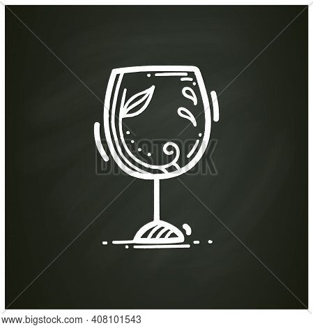 Glass Etching Designs Chalk Icon. Black And White Etching Wine Glass With Decoration. Creative Hobby