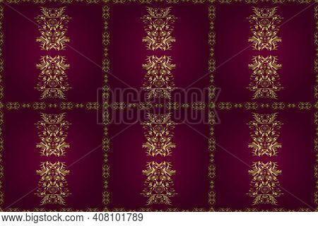 Traditional Orient Ornament. Classic Vintage Background. Seamless Classic Raster Golden Pattern. Gol