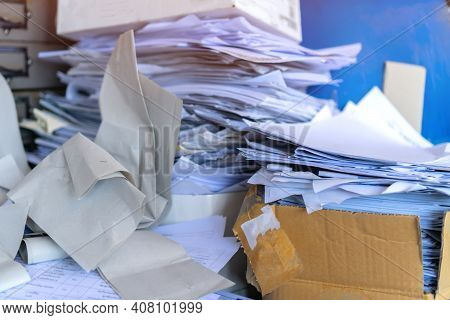 Stack Old Recycle Papers Or Pile Disposal Ecology Junk White Paper Business Of Document Paperwork On