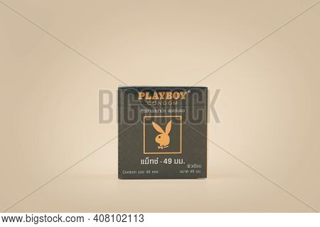 Samut Prakan, Thailand - February 15, 2021 : A Box Of Playboy Condom Size 49 Mm. Playboy Brands Of C