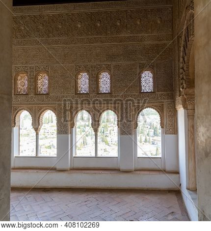 View Of Detailed And Ornate Moorish And Arabic Decoration In The Arched Windows Of The Nazaries Pala