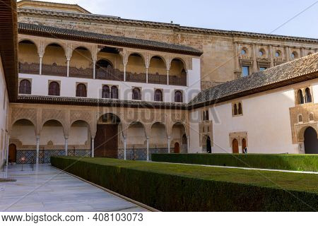 The Patio De Arrayanes In The Nazaries Palace In The Alhambra In Granada