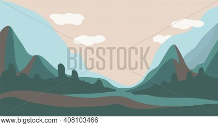 Vector Illustration Of A Spring Or Summer Landscape. Mountains With Meadows And Trees. Serene Nature